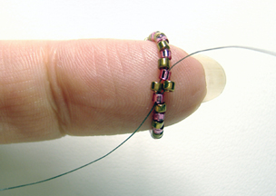 Step 4 String A Color1 Delica Bead Skip The Existing On Circle Of Beads And Then Go Through Next Color2